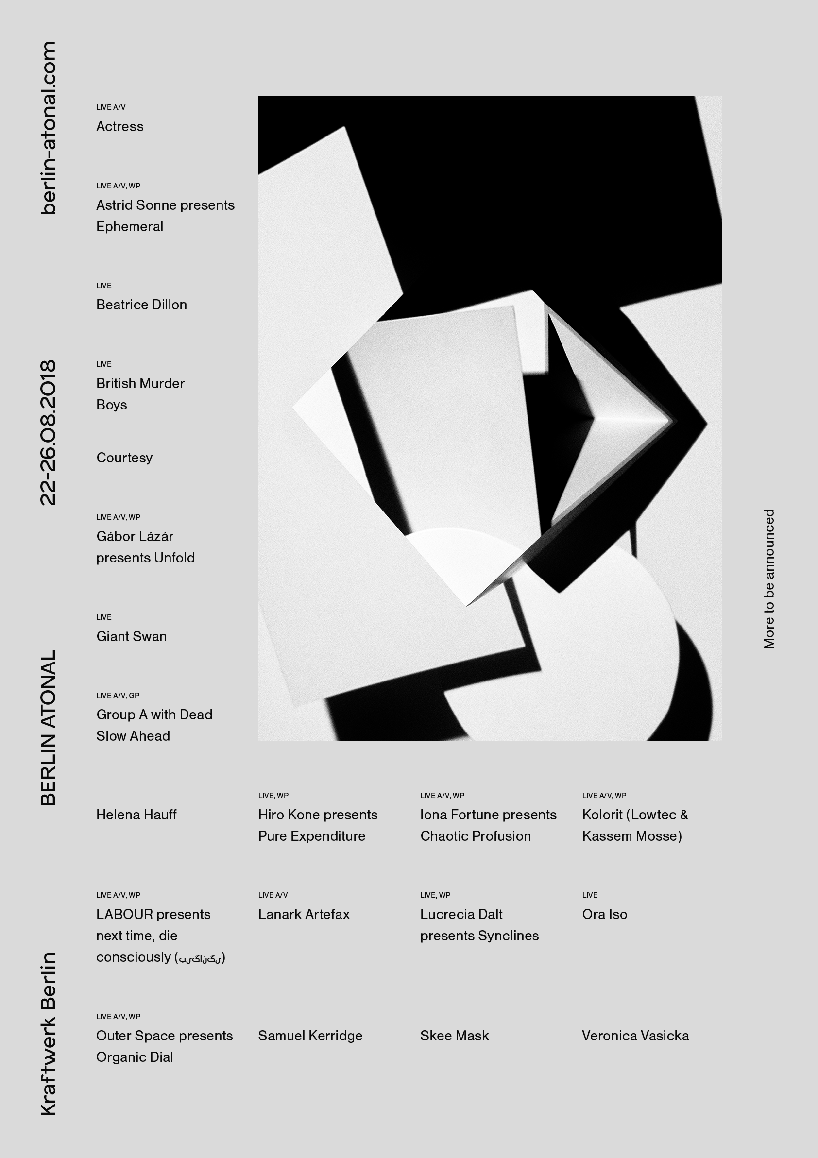 Berlin Atonal 2018 - First Announcement