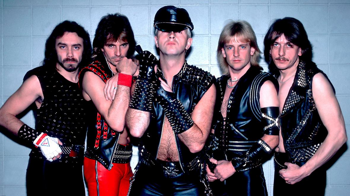 4_Rob Halford, centre, with Judas Priest in 1984 (PAUL NATKIN-GETTY IMAGES)